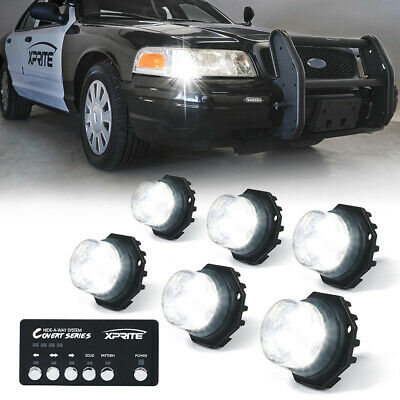 $93.49 • Buy Xprite 6x White LED Hideaway Strobe Lights Set For 12V Vehicles Light Heads