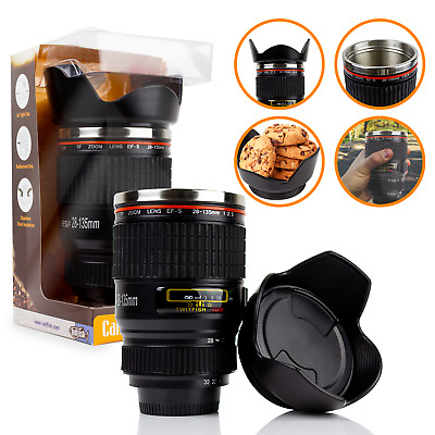 £9.99 • Buy IDEAL GIFT Camera Lens Coffee Tea Mug With Stainless Steel Thermos