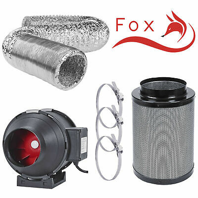 Hydroponics Grow Tent Filter Kit Twin Speed Extraction Fan Ducting Carbon Filter • 68.99£