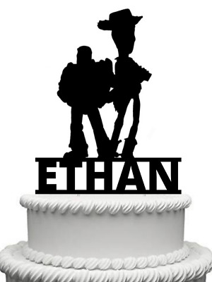 Personalised Toy Story Buzz Lightyear And Woody Black Gloss Acrylic Cake Topper • 9.99£