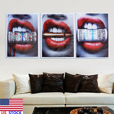 $8.45 • Buy Wall Art Prints Posters Sexy Red Lips Bite Bullet Money Modern Canvas Painting !