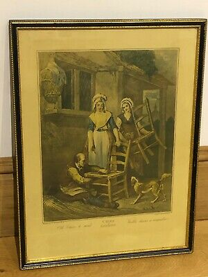 £18.99 • Buy Framed Antique Framed Cries Of London Engraved Print F Wheatley Old Chairs Mend