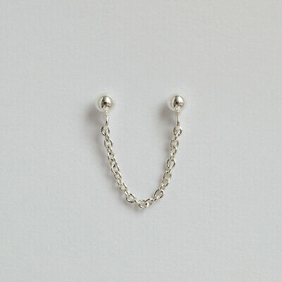 £14 • Buy Sterling Silver Double Piercing Earring - Two Connected Chain Studs - Minimalist