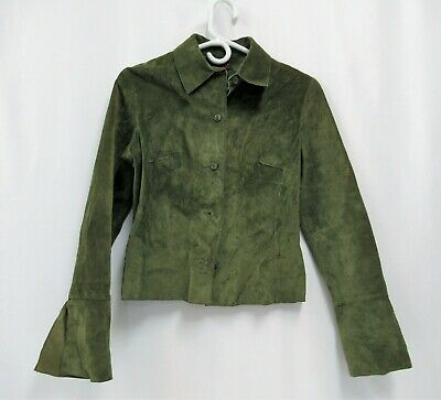 $ CDN63.42 • Buy Danier Suede Leather Jacket Womens Small Petite Green Canada Vintage Button Up