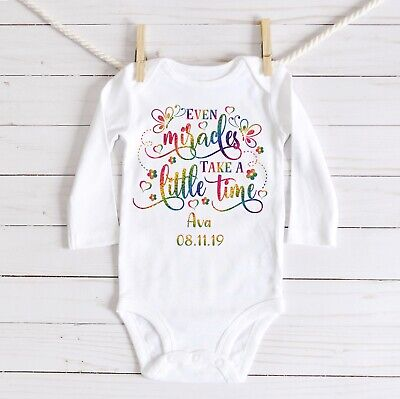 Personalised 'Even Miracles Take A Little Time' Babygrow, Bodysuit, Rainbow Baby • 7.50£