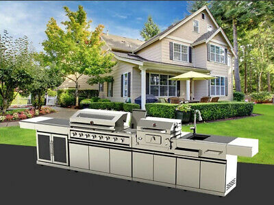 $7499 • Buy New Outdoor BBQ Kitchen Grill Island Stainless Gas Wood Grill Refrigerator Sink