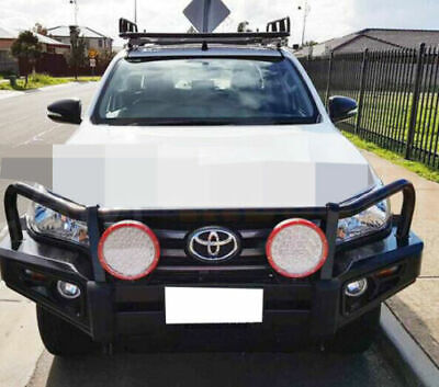 AU999 • Buy Black Commercial Bull Bar To Suit Toyota Hilux N80 2015-2018 SR5 TRD Winch Plate