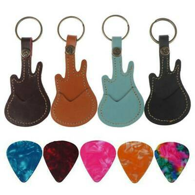 $ CDN3.35 • Buy New Leather Keychain Guitar Pick Holder Plectrum Black Bag Case With 5 Picks