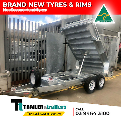 AU9300 • Buy 9x5 TANDEM AXLE AUSSIE GALVANISED H/DUTY HYDRAULIC TIPPER TRAILER + NEW TYRES
