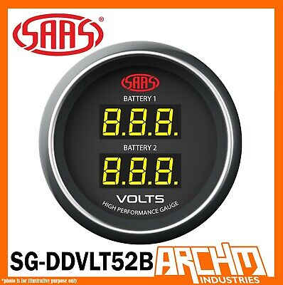 AU73.85 • Buy SAAS 52mm Dual Battery Volt Gauge 8-18v Range Black Dial Face Kit 2  SG-DDVLT52B