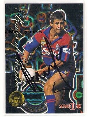 AU32 • Buy Signed Andrew Johns Knights 1996 Badge Of Honour Dymamic Nrl Card Immortal Rare
