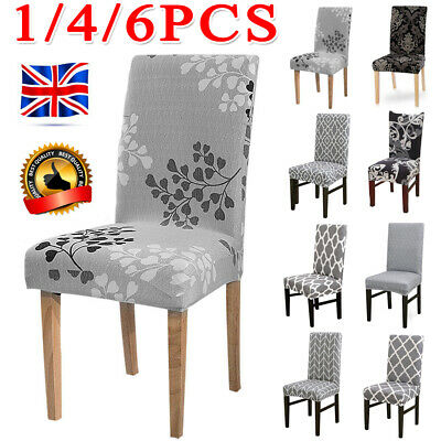 1/4/6PCS Dining Chair Seat Covers Slip Stretch Wedding Banquet Party Removable • 3.59£