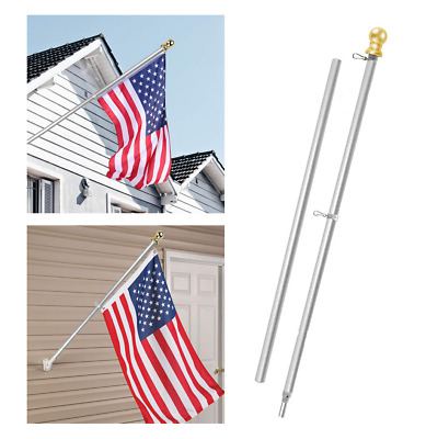 Free Spinning Flag Pole Tangle Spinn Bracket Flagpole Aluminum Silver Globe Home • 37.74$