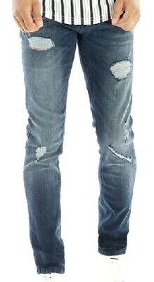 New Mens  Ringspun Achillies Slim Stretch Jeans Stone Wash Size W38 L32 • 13.99£