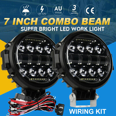 AU94.99 • Buy 2X 7 Inch 200W Round LED Work Light Spot Lamp DRL Bar Driving Offroad 4WD+ Wire
