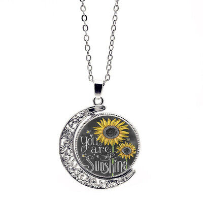 You Are My Sunshine  Letter Print Moon Pendant Sunflower Necklace For Women • 4.64$