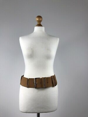 Vintage Retro Leather Metal Chain Links Wide Thick Waist Clincher Belt Tan M 39 • 17.99£