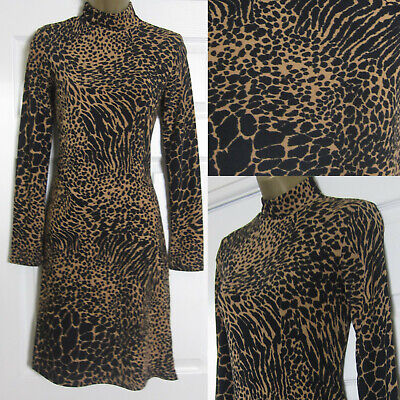 NEW Warehouse Womens Animal Print Tea Dress Roll Neck Jersey Fit And Flare 8-16  • 13.95£