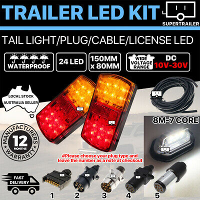 AU56.95 • Buy Pair Of 24 LED TRAILER LIGHTS KIT, 1x NUMBER PLATE PLUG 8M X 7 CORE CABLE 10-30V