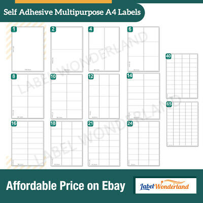 Address Labels  A4 White Sticky Self Adhesive Sheets For Inkjet / Laser Printers • 2.79£
