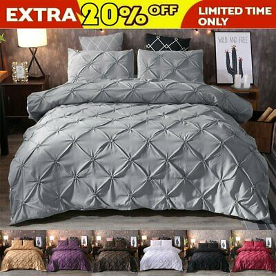 AU32.30 • Buy Diamond Pintuck Duvet/Doona/Quilt Cover Set Single Queen King Size Bed Supersoft