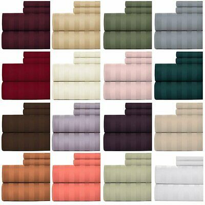 AU38.99 • Buy 1000TC Cotton Blended Stripe Single/KS/Double/Queen/King Fitted, Flat Sheet Set