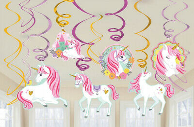 AU7.95 • Buy Party Supplies Birthday Girls Decorations Magical Unicorn Hanging Swirls Pk 12