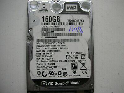AU16.67 • Buy WD Scorpio Black 160gb WD1600BEKT-75F4T0 2061 771714 002 02P HDD 2,5   SATA HD