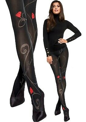 £5.99 • Buy Women Floral Pattern Tights Roses By Adrian Red Roses Pattern 40 Den