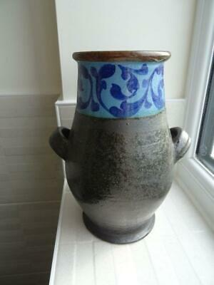 £24.95 • Buy Bovey Tracey Art Pottery Urn Style Vase In Black With Floral Band