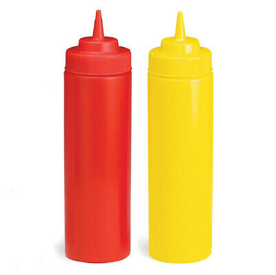 2 X RED / YELLOW SQUEEZE SAUCE BOTTLES Ketchup Mustard Kitchen • 3.99£