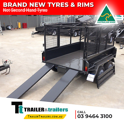 AU10865 • Buy 9x5 TANDEM AXLE HEAVY DUTY HYDRAULIC TIPPER CAGE TRAILER | 15  SIDES + RAMPS