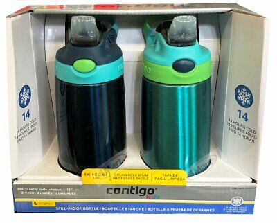 AU39.88 • Buy 2x Contigo Kids Autospout Water Bottles For Kids BPA FREE Spill Proof Blue+Green