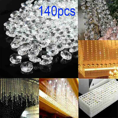 £8.03 • Buy 140pcs 14mm Clear Crystal Glass Chandelier Part Prisms Octagonal Beads Decor #CP