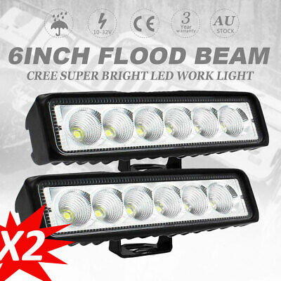 AU26.59 • Buy 2PCS 6 Inch 30W CREE FLOOD LED Light Bar Work Reverse DRL Ute 7  Driving Bars
