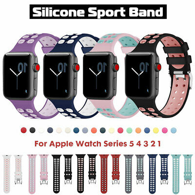 $ CDN5.43 • Buy Silicone Sports Band Strap For Apple Watch Series 5 4 3 IWatch 38 40 42 44 Bands