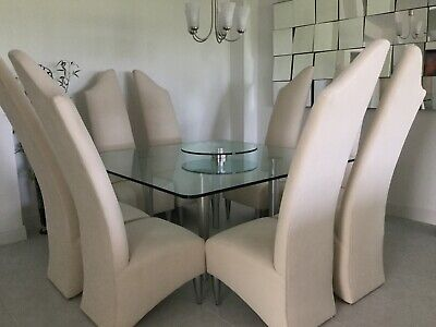 $1250 • Buy Glass Dining Table With Chrome Legs And 8 Unique Contemporary Chairs