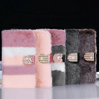 For IPhone 11 Pro Max XS 7 8 Faux Fur Flip Card Slots Diamond Fluffy Case Cover • 6.99£