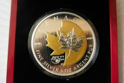 $ CDN449.99 • Buy 2013- 5OZ FINE SILVER COIN 25TH Anniversary Of The Silver Maple Leaf 2500 Minted
