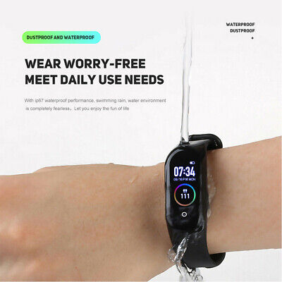 $ CDN6.91 • Buy M4 Smart Band Wristband IP67 Smart Bracelet Heart Rate Blood Pressure Tracker US