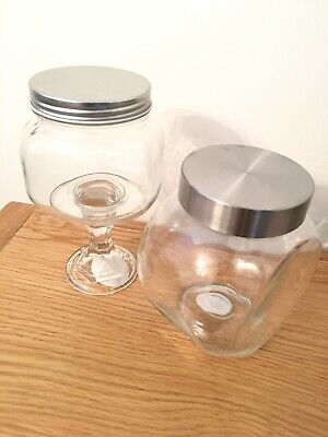 £14.99 • Buy Set Of 2 Glass Vintage Sweet Jars With Silver Lid, Wedding,Home Decor,Sweet Cart
