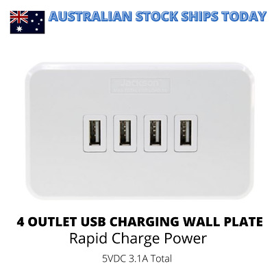 AU20.99 • Buy Jackson 4 Outlet USB Charging Wall Plate Point - 3.1A, Rapid Charge PT9804
