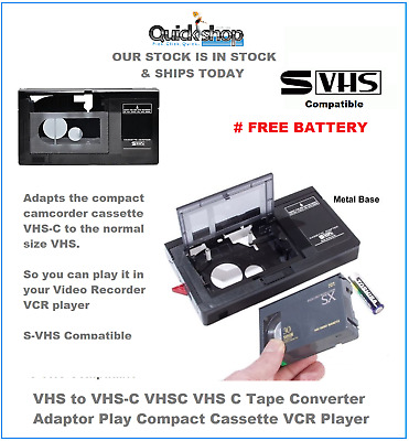 AU55.99 • Buy VHS To VHS-C VHSC VHS C Tape Converter Adaptor Play Compact Cassette VCR Player