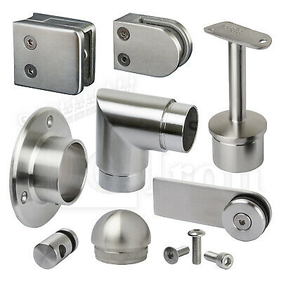 Stainless Steel Handrail Fittings Balustrade Glass Railings Fence Clamps Panels • 6.60£