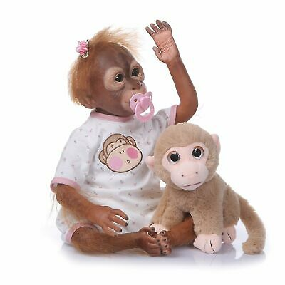 22''/55cm Realistic Handmade Reborn Monkey Baby Girls Boys Soft Vinly Dolls Gift • 47.50£