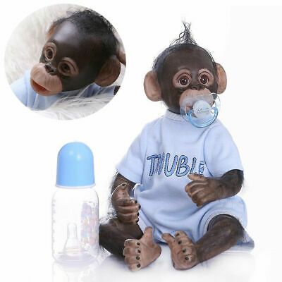 16 /40cm Realistic Handmade Reborn Monkey Baby Girl Boys Soft Vinly Dolls Blue • 42.50£