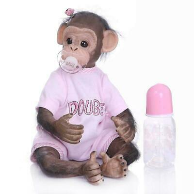 16 /40cm Realistic Handmade Reborn Monkey Baby Girl Boys Soft Vinly Dolls Pink • 42.50£