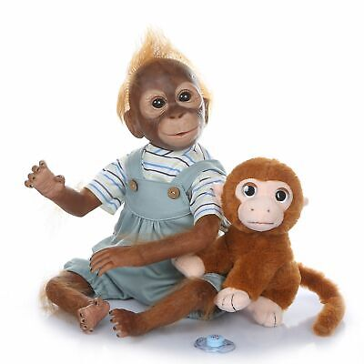 20  Reborn Monkey Baby Animals Reborns Realistic Reborn Dolls Kids Gifts Blue • 49.95£
