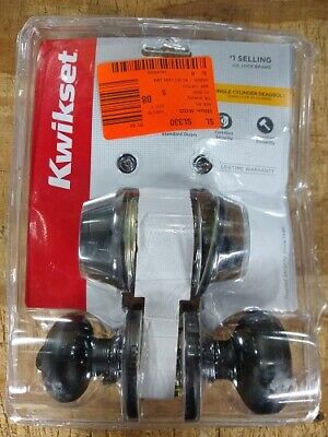 Kwikset Cove Venetian Bronze Entry Knob And Single Cylinder Deadbolt Combo Pack • 30.95$