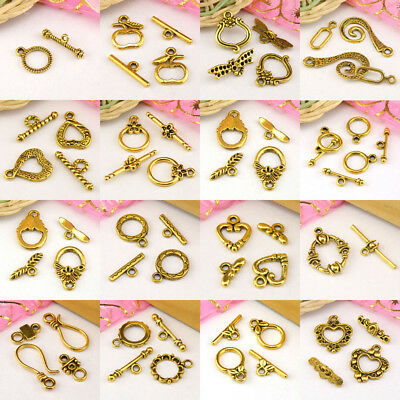 £0.99 • Buy Antiqued Gold Toggle Clasps Connectors Necklace Jewelry Making DIY R2004